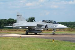 捷克空军队绅宝JAS-39 Gripen喷气式歼击机 免版税库存照片