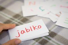 捷克语;学会与字母表卡片的新的词;文字AP 免版税库存照片