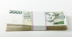 捷克钞票5和2一千个冠 免版税库存图片
