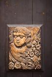 捷克雕刻在门 免版税库存照片