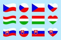 捷克,匈牙利,斯洛伐克旗子导航集合 舱内甲板被隔绝的象 匈牙利语,捷克语,斯洛伐克国家标志汇集 网 向量例证