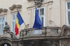 捷克,布拉格, 2017年10月18日,罗马尼亚使馆门面 免版税库存照片