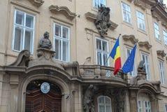 捷克,布拉格, 2017年10月18日,罗马尼亚使馆门面 免版税库存图片