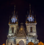 捷克,布拉格- 2017年10月02日:一个美妙的欧洲城市的出现 与spiers的Ostop塔 库存图片