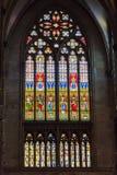 捷克,布拉格- 2016年12月19日:圣Vitus污迹玻璃窗在布拉格,捷克 库存图片