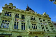 捷克:MÄ› Å ¡ Å¥anskà ¡ Beseda,老建筑学, Pilsen,捷克 库存图片