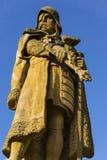 捷克1月Zizka在塔博尔,雕象在教会前面的 库存照片
