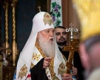 捷尔诺波尔州,乌克兰–DeÑ  18日2018年:团结的autocephalous乌克兰东正教Filaret的名誉族长在a期间的 库存照片