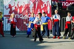 捷尔诺波尔,乌克兰- 2017年10月1日:乌克兰哥萨克人孩子在 免版税图库摄影