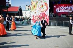捷尔诺波尔,乌克兰- 2017年10月1日:在Po的交谊舞孩子 免版税图库摄影