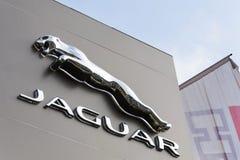 捷豹汽车车厂在经销权前面的公司商标 库存照片