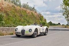 捷豹汽车C型(1952)在Mille Miglia 2014年 免版税图库摄影