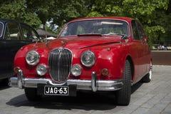捷豹汽车Mk -1在标记`捷豹汽车`汽车车主俱乐部的会议  芬兰土尔库 库存照片
