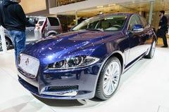 捷豹汽车XE汽车,汽车展示会日内瓦2015年 免版税图库摄影