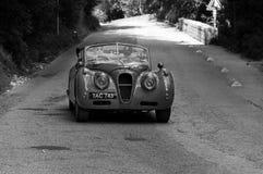 捷豹汽车XK 140 SE下落在一辆老赛车的头COUPÃ ‰ 1955年在集会Mille Miglia 2017年 免版税库存图片