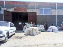 授予对土地所有权的共同投资者的五谷 得到麦子和大麦在袋子在仓库里 库存照片