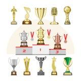 授予战利品传染媒介优胜者得奖的trophycup或奖牌得奖的冠军的有奖励的胜利在竞争 库存照片