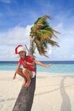 掌上型计算机圣诞老人结构树等待 免版税库存照片