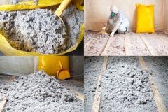 掌握在地板套的被堆积的纤维素绝缘材料四张照片 库存图片