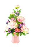 排列人为五颜六色的花 库存照片