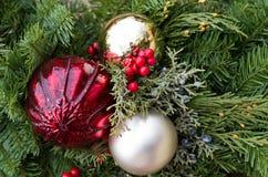 排列圣诞节绿化装饰品 库存照片