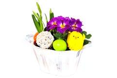 排列复活节彩蛋花 免版税库存照片