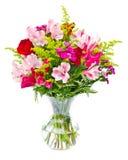 排列花束焦点五颜六色的花 库存照片
