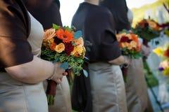 排列花束花婚礼 免版税库存图片