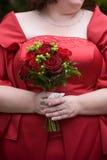 排列花束花红色婚礼 免版税库存图片
