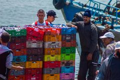 排序和卖在索维拉港的渔夫新近地被抓的鱼  免版税库存照片