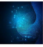 排序流程进程的数据 大数据流未来派infographic 与bokeh的五颜六色的微粒波浪 免版税库存照片