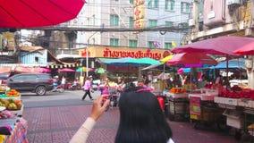 排档在唐人街,曼谷,泰国 股票录像