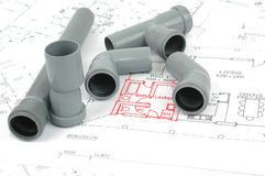 排水设备测量深度pvc的配件计划 免版税库存照片