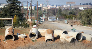 排水设备用管道输送立即可用 免版税库存照片
