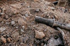 排水设备管子的替换防止的充斥 库存图片