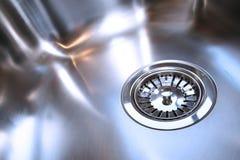 排泄厨房新的发光的水槽 库存图片