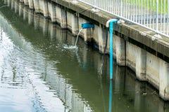 排泄水转储到运河 免版税库存照片