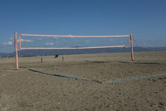 排球在海边 图库摄影