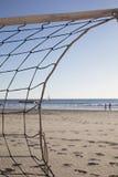 排球网细节在海滩的 免版税库存照片