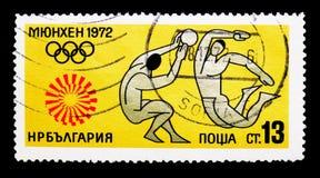 排球,夏季奥运会1972年,慕尼黑serie,大约1972年 免版税库存照片