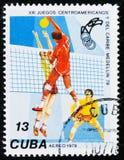 排球,第13场中美洲和加勒比比赛,大约1978年 免版税库存图片