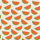 排行与切片的颜色平的无缝的背景样式西瓜 传染媒介设计的,墙纸例证纹理 图库摄影