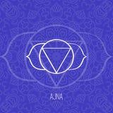 排行几何例证七chakras之一-在蓝色背景的Ajna,印度教,佛教的标志 免版税库存图片