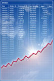 排行命令记录红色收入趋势 库存照片