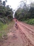 排行在RUSA BBC BANGKO占碑省INDONEISA骑自行车的人 免版税图库摄影