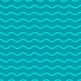 排行波浪 与浅兰的滚动的线的无缝的纹理在蓝色背景 皇族释放例证