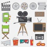 排行电影摄制和多媒体的平的颜色传染媒介象元素设置与35mm影片照相机,电视 动画片样式 戏院 库存照片
