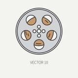 排行电影摄制和多媒体35mm影片片盘的平的颜色传染媒介象元素 动画片样式 戏院 向量 库存照片
