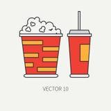 排行电影院流行文化-玉米花,可乐的平的颜色传染媒介象元素 动画片样式 戏院 向量 库存图片