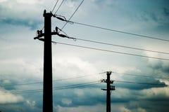 排行输电 免版税库存图片